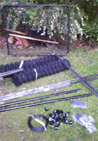 BRAND NEW 100 ft black chain link fence, gate, posts, caps, etc.