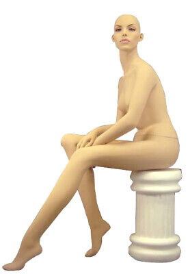 Realistic Fleshtone Adult Female Fiberglass Seated Mannequin With Stool And Wig
