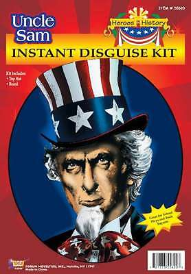 Uncle Sam Hero's In History 2 Piece Hat & Chin Beard Costume Accessory Kit