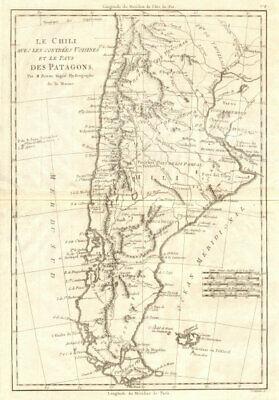 Le Chili… et les pays des Patagons. Chile Argentina Patagonia. BONNE 1790 map