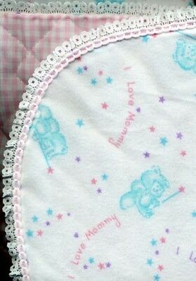 BARBIE DOLL QUILT - I LOVE MOMMY - BEAR PRINT BLANKET FOR CRADLE OR BED, used for sale  Shipping to United Kingdom