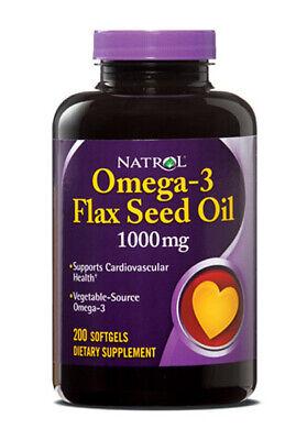 Natrol - Omega-3 Aceite de Linaza 1000MG Apoya Cardiovascular Salud 90 Cápsulas