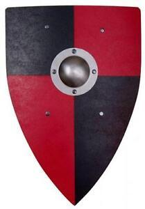 Ritterschild Normannenschild Wappenschild schwarz/rot Metall-Buckel Buckelschild