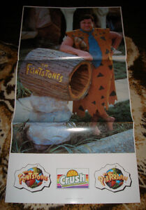 RARE 1994 FRED FLINTSTONES MOVIE ORANGE CRUSH POP PROMO POSTER