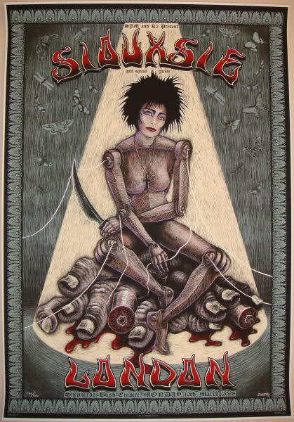 2008 Siouxsie - London Silkscreen Concert Poster by EMEK S/N