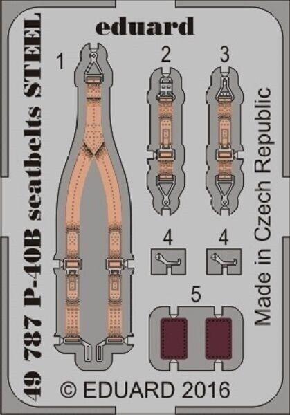 eduard 49787 x 1/48 Seatbelts P-40B Steel for Airfix (Painted)