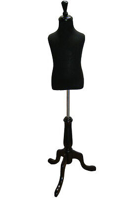 Mn-507 Black Toddler Pinnable Dress Form W Wood Tripod Stand Sizes 3-4 Small