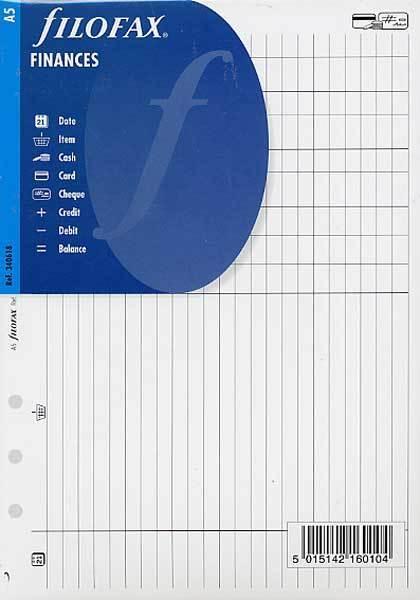 Filofax A5 Size Finances Notepaper Sheets Organiser Insert Refill 340618