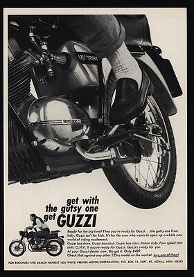 1966 GUZZI Motorcycle - Get With The Gutsy One - VINTAGE AD
