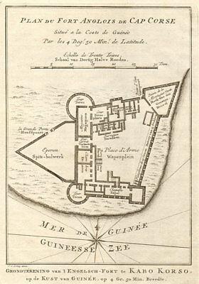 'Fort Anglois de Cap Corse'. Cape Coast Castle, Ghana BELLIN/SCHLEY 1748 map