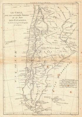 Le Chili… et les pays des Patagons. Chile Argentina Patagonia. BONNE 1788 map