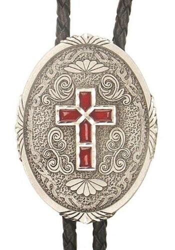Western Cross Religious Christian Bolo Tie Pewter Red Enamel MADE IN USA