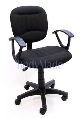 New Black Fabric Ergonomic Desk Office Chair w Swivel Fabric Swivel Chair