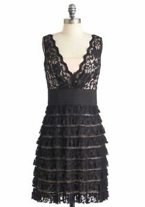 NEW Black and blush satin and lace dress - Size 6
