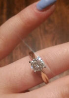 PEOPLES 18kt yellow-white gold 1.01ct solitaire engagement ring