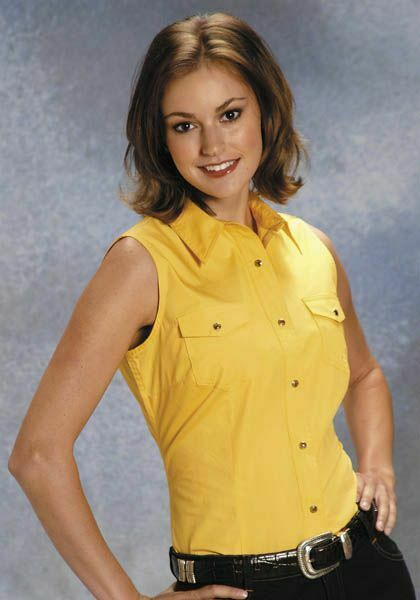 Roper Ladies Poplin Sleeveless Variegated Snap Shirt - Yellow