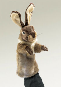 NEW-PLUSH-SOFT-TOY-Folkmanis-Rabbit-Stage-Hand-Puppet-35cm
