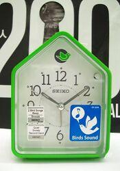 [Seiko]2 Bird Songs bedside Alarm Clock quiet QHP002M,Green House cute+FREE SHIP