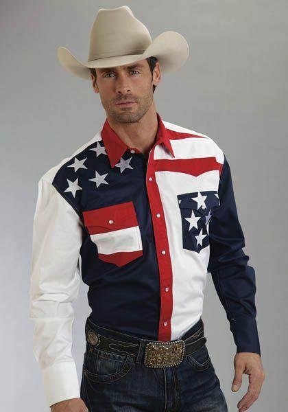 Roper Mens Americana Collection Colorblocked Flag Long Sleeve Snap Shirt