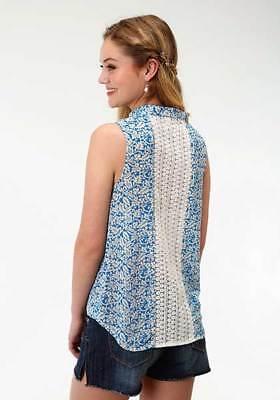 Roper Ladies Womens Blue Floral Chiffon Sleeveless Blouse Top Shirt Crochet -