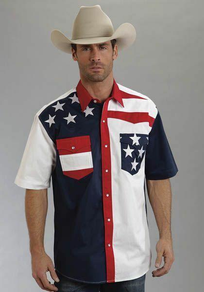 Roper Mens Americana Colorblock Flag Short Sleeve Snap Shirt