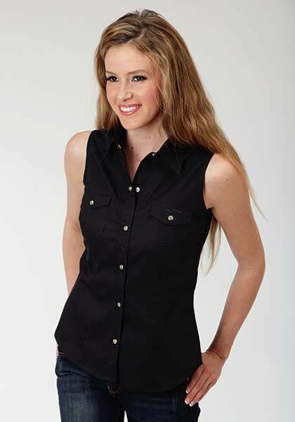 Roper Ladies Poplin Sleeveless Variegated Snap Shirt - Black
