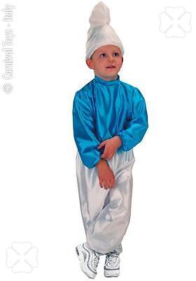 Costume Gnomo Blu Bambino Carnevale Puffo TG 8/9 ANNI Travestimento Nuovo