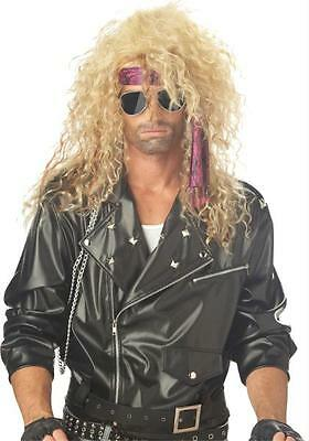 80S HEAVY METAL ROCKER FRIZZY HAIR BAND BLONDE WIG COSTUME ACCESSORY CC70544 (Hair Metal Wigs)