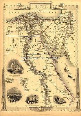 NEW A1 (33 x 23 inch) Large Antique Vintage Map Egypt & Arabia Petraea Old Plan