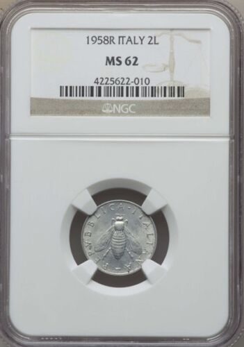 ITALY  REPUBLIC  1958-R   2 LIRE COIN NGC CERTIFIED MS62, SCARCE DATE!