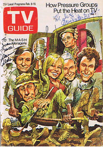 Cast Of Mash Autog. Cover Of Feb. 9/1974 TV Guide London Ontario image 1