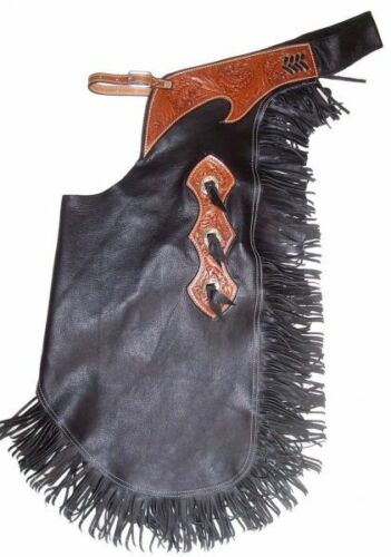 Black Smooth Leather Western Horse Saddle Chinks / Chaps For Work Show Rodeo