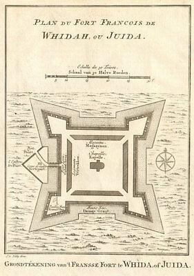 'Plan du Fort François de Whidah ou Juida'. Ouidah Benin. BELLIN/SCHLEY 1748 map