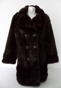 Vintage FAUX FUR Coat Dark BROWN S