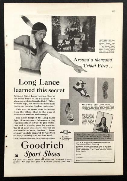 1931 B.F. Goodrich Sport Shoes Sneakers vintage AD *Chief Long Lance Shoe*