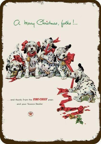 1952 TEXACO GAS Vintage Look DECORATIVE METAL SIGN DALMATIAN PUPPY DOGS @ CHRIST