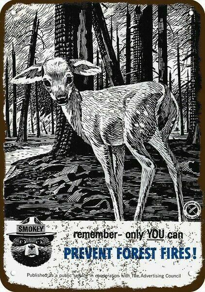 1962 SMOKEY THE BEAR & FAWN AD COUNCIL VintageLook DECORATIVE REPLICA METAL SIGN