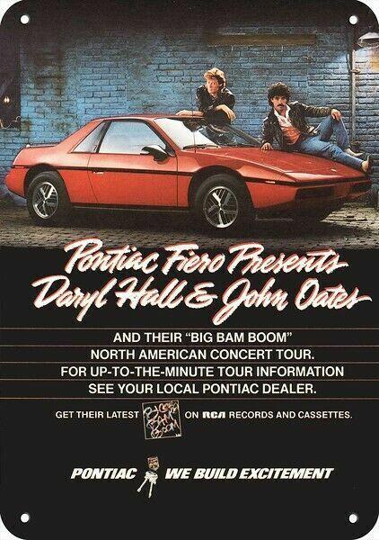 1984 HALL & OATES BIG BAM BOOM CONCERT TOUR & PONTIAC FIERO REPLICA METAL SIGN