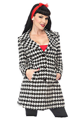 Voodoo Vixen PIN UP 50'S 60'S HOUNDSTOOTH BETTIE PAGE EMO ROCKABILLY COAT JACKET Clothing, Shoes & Accessories