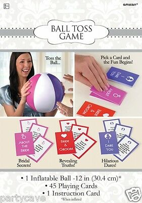 HEN PARTY  SHOWER INFLATABLE BALL TOSS GAMES BRIDAL SECRETS TRUTH DARE CARDS