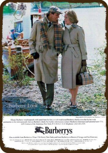 1984 BURBERRYS OF LONDON TRENCHCOATS Vintage Look ** REPLICA METAL SIGN **