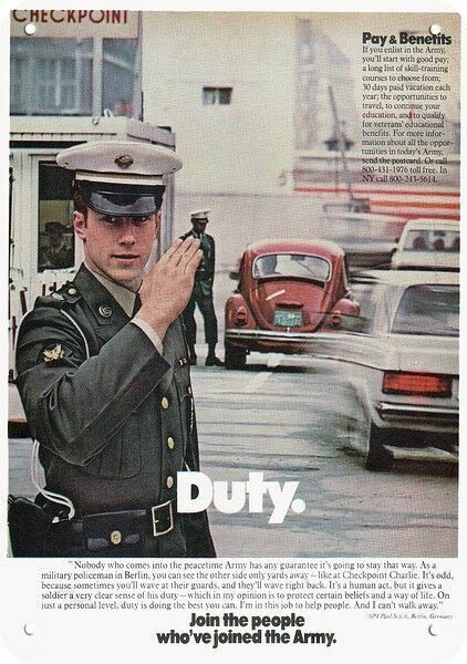1979 U.S. ARMY MP MILITARY POLICE at CHECKPOINT CHARLIE DECORATIVE METAL SIGN