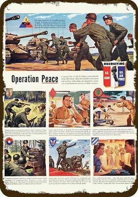 1950 ARMY OPERATION PEACE Vintage Look METAL SIGN - FORT DIX & JACKSON CAMP HOOD