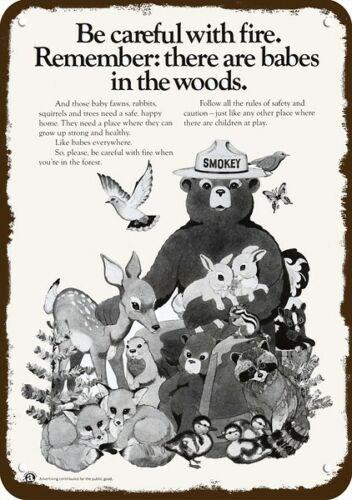 1973 SMOKEY THE BEAR & Baby Fox Racoon Fawn Rabbit DECORATIVE REPLICA METAL SIGN