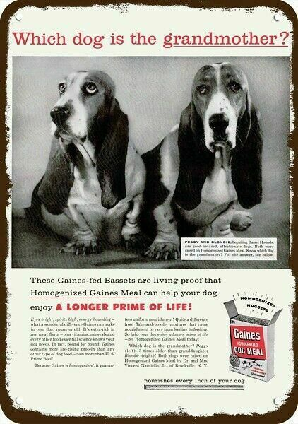 1957 GAINES DOG FOOD & 2 BASSET HOUND Dogs Vintage Look REPLICA METAL SIGN