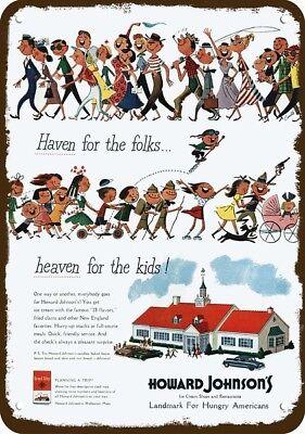 (1950 HOWARD JOHNSON'S Restaurant & Ice Cream Vintage Look REPLICA METAL SIGN - -)