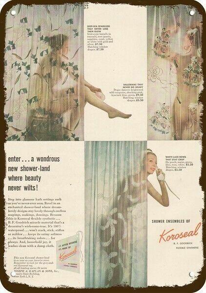 1947 KOROSEAL SHOWER CURTAIN Vintage Look REPLICA METAL SIGN  WOMAN BATHING BATH