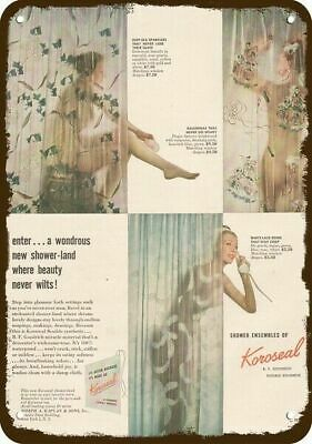 1947 KOROSEAL SHOWER CURTAIN Vintage Look REPLICA METAL SIGN WOMAN BATHING BATH
