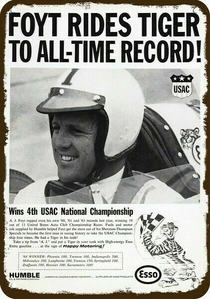 1965 HUMBLE GAS & OIL & A.J. FOYT USAC Racing Vintage Look REPLICA METAL SIGN