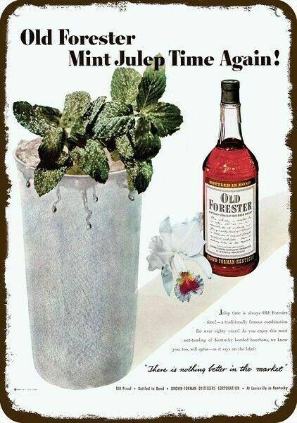 1950 OLD FORESTER BOURBON WHISKY & MINT JULEP Vintage Look DECORATIVE METAL SIGN